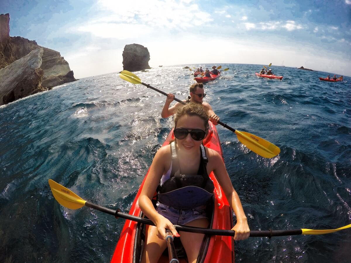 Santorini sea kayak tour
